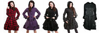 Poizen Industries Alice Coat Women Goth Punk Emo Winter Gothic Cosy Fleece Coat
