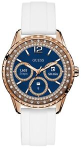 $400 GUESS Connect Touch Rose Gold-Tone White Silicone Strap Smartwatch