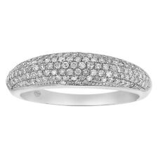 10K White Gold 1/2 carat Diamonds Semi-Eternity Anniversary Band Ring size 8