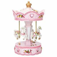 Pink Rose Horse Musical Carousel 10 inch Rotating Figurine Plays Tune Memory