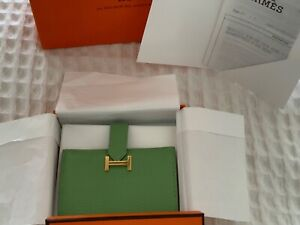 Authentic Hermes Mini Bearn Wallet Vert Criquet with Gold Hardware - Full Set