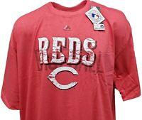Cincinnati Reds MLB Majestic Weathered Logo Red Heather T-Shirt, Mens Big & Tall