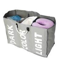 3 Folding Laundry Storage Basket Hamper Washing Clothes Bin Foldable Sorter Bag