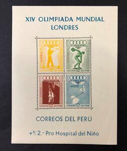 Peru #C81a Sheet of 4 1948 MNH