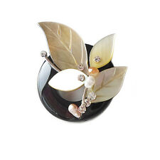 HANABE KOREA Handmade Onyx Mother of Pearl Crystal Pearl Flower Petal Brooch Pin