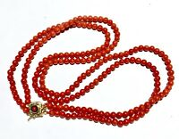 14k BLOOD RED no dye Italian natural coral Blue enamel 14k gold clasp Necklace