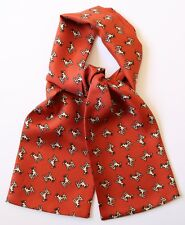 "Silk Cravat Terracotta with Dogs pattern print 39"" X 5"" Hand made in England"