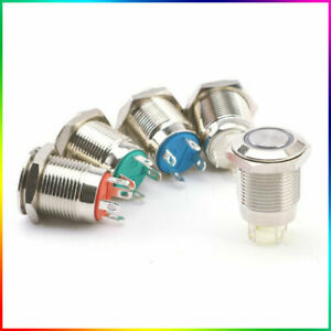 12mm Momentary Push Button Switch Metal 12V - Boat LED IP67 Waterproof