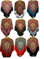 Ladies Eastern European Ethno Folk Russian Style Shawl Scarf Wrap With Fringes