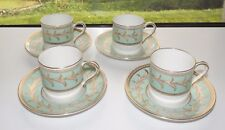 Royal Worcester Porcelain Albemarle Pattern  4 x Cups and Saucers Green  1949