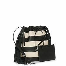 Handbag Polo Ralph Lauren Black Off White Striped Drawstring Bucket Bag Fringe