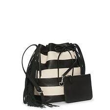 Handbag Polo Ralph Lauren Black Off White Striped Drawstring Bucket Bag Fringe