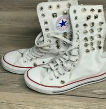 RARE🔥Converse All Star Chuck Taylor STUDS White High Top Sneakers Women's 7 GUC