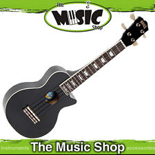 New Mahalo Black LP Shaped Soprano Ukulele with Bag - ULP1BK