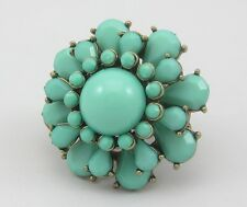 New Turquoise & Gold Colored Stretch Ring With Retro Vintage Styling #R1160
