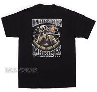 Military USMC T-Shirt Marine Corps Semper Fidelis American Flag M16 BABA