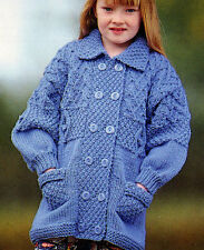 """Childrens/Baby Chunky Wool Textured Jacket  22"""" - 30"""" Hood or Colllar  ~ To Knit"""