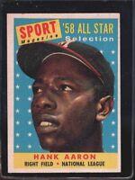 1958 Topps Hank Aaron Milwaukee Braves #488 Baseball Card