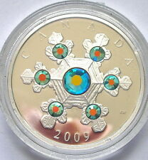 Canada 2009 Snowflake Green Crystal 20 Dollars 1oz Silver Coin,Proof