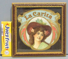 BEAUTIFUL OLD CIGAR BOX LABEL IN ANTIQUE FRAME, OUTSTANDING & FREE SHIP * ADV999