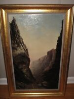 L. EDNA MARTIN Original Oil Painting Mountains Signed & Dated 1892 Listed Amer.