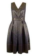 Closet Metallic V-Neck Sleeveless Polka Pleated Dress