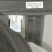 Brunello Cucinelli Womens Size 12 Large Taupe Brown Pants Leather Skinny Ankle