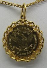 SOLID 22CT YELLOW GOLD TOKEN 1885 PENDANT