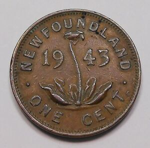 Newfoundland 1943c Small Cent F-VF Scarce LOW Mintage WWII George VI Nfld. Coin