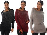 Maglione donna pullover maglia ampia manica lunga pipistrello borchie strass