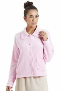 Camille Women's Baby Pink Soft Fleece Button Up Top / Bed Jacket / Loungewear