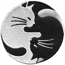 Yin Yang cats biker tattoo sew embroidered applique iron-on patch S-1400