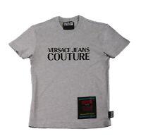 Versace Jeans Couture Grey Cotton Crewneck Macro Logo T-Shirt