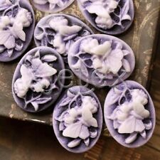 8pcs Purple Resin Oval 25x18x7mm Flatback Butterfly Flower Cameo Cabochon RB0682