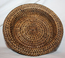 Vintage Brown Basket Candle Drip Plate or Wine Coaster or Key & Coin Tray