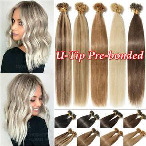 Pre Bonded Keratin Fusion Nail U Tip 100% Real Remy Human Hair Extensions100-200