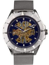Minoir Uhren - Modell Embrun - silber/blau Automatikuhr, Skelettuhr, Herrenuhr