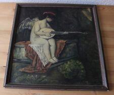 nettes Gemälde - Künstler K. v. Horwarth - Putte mit Laute - Jugendstil 1910/20