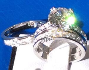 3pc Bridal Set: 4ct Simulated diamond engagement wedding ring set 925 silver