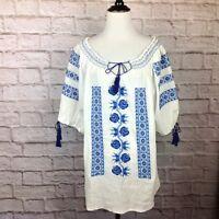 Vintage Peasant Top Women Medium Boho Hippie Embroidered Blue White Tassel Tie