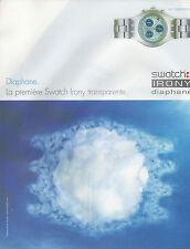 Publicité Advertising  2000  Montre  SWATCH IRONY diaphane  Icestorm