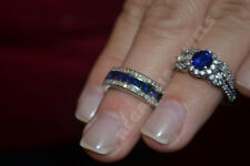 Round Cut Blue & White Diamond Engagement Bridal Ring Set FREE SHIPPING ALL SIZE