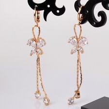 18k gold filled white topaz lady lovely smart dangle earring butterfly pattern