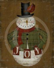 Primitive Snowman Joy Christmas Winter Cardinal  8x10 Print Laser Printed