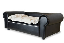 Sofá para perro Columbus Chesterfield XXL Cuero Artificial Negro Cama NUEVO