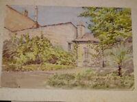 Ecole FRANCAISE XIX DESSIN AQUARELLE PAYSAGE MAISON ARBRE DRAWING 1870-1880