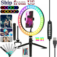 "10"" RGB Beauty Fill Light LED Ring w/Tripod Stand Dimmable Kit for Phone Stream"