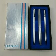 Sheaffer White Dot Bright Chrome Ball Pen, Pencil and Marker Set in Box Engraved