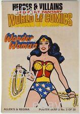 DC Comics HEROES & VILLAINS New Zealand Gum Card POSTER - WONDER WOMAN w Lasso