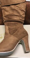 TRENDSup Collection Women's Mid Heel Boots Tan Size 10 US